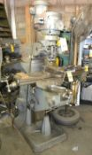 """Bridgeport Milling Machine, J Series, with Power Feed and 6"""" Milling Vise 12/BR 155812, S/N J-"""