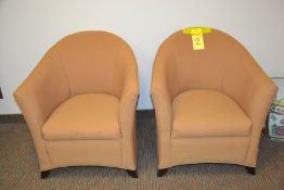 Brown Upholstered Club Chairs