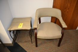 Lot - Metal End Table & Upholstered Chair