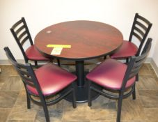 """5-Piece Table Set (36"""" Round Table & 4 Metal / Vinyl Chairs)"""