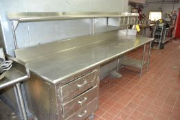 """Stainless Steel Prep Table, 30"""" x 112"""" w/ Hutch Top"""