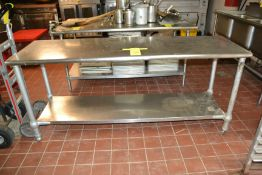 """Stainless Steel Prep Table, 24"""" x 78"""""""
