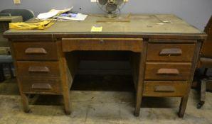 Wooden Desks w/ (2) Chairs