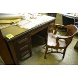Wooden Desk w/ (1) Chair