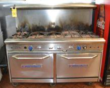 Bakers Pride Rolling 10-Burner Range w/ 2-Door Boiler