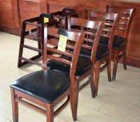 (4) Wood and Black Vinyl Chairs