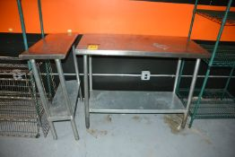 """(2) Assorted Stainless Steel Prep Tables, 14"""" x 30"""" & 24"""".x 48"""""""