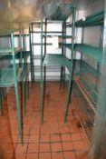 (6) Assorted Green Coated Metro Racks