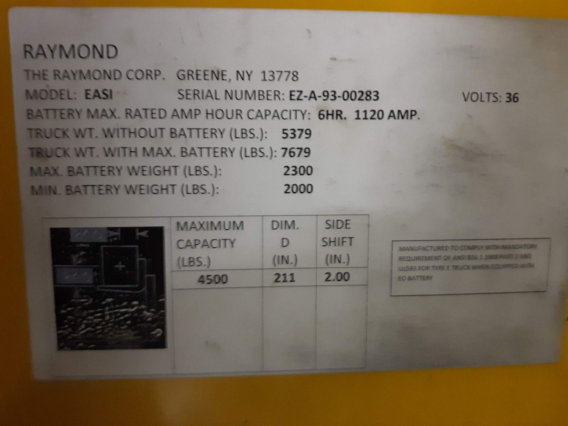 Lot 1206 - RAYMOND STAND UP FORK TRUCK (NEEDS BATTERY) MODEL-EASI S#EZA-93-00283 36VOLT 4,500 LB. CAPACITY (