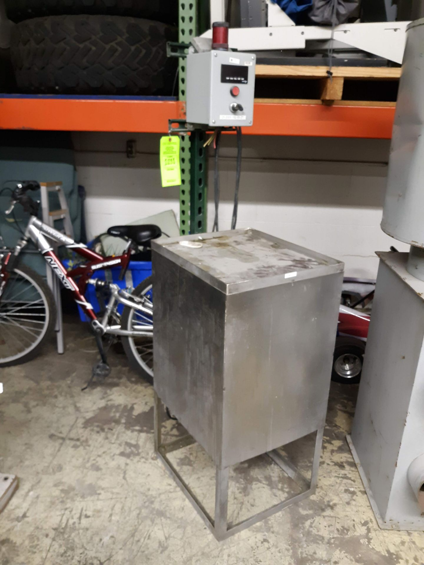 Lot 1231 - STAINLESS STEEL STAND W/ RED LION CONTROL BOX; POWER OUTLET BOX; SQUARE D GEN PURPOSE TRANSFORMER