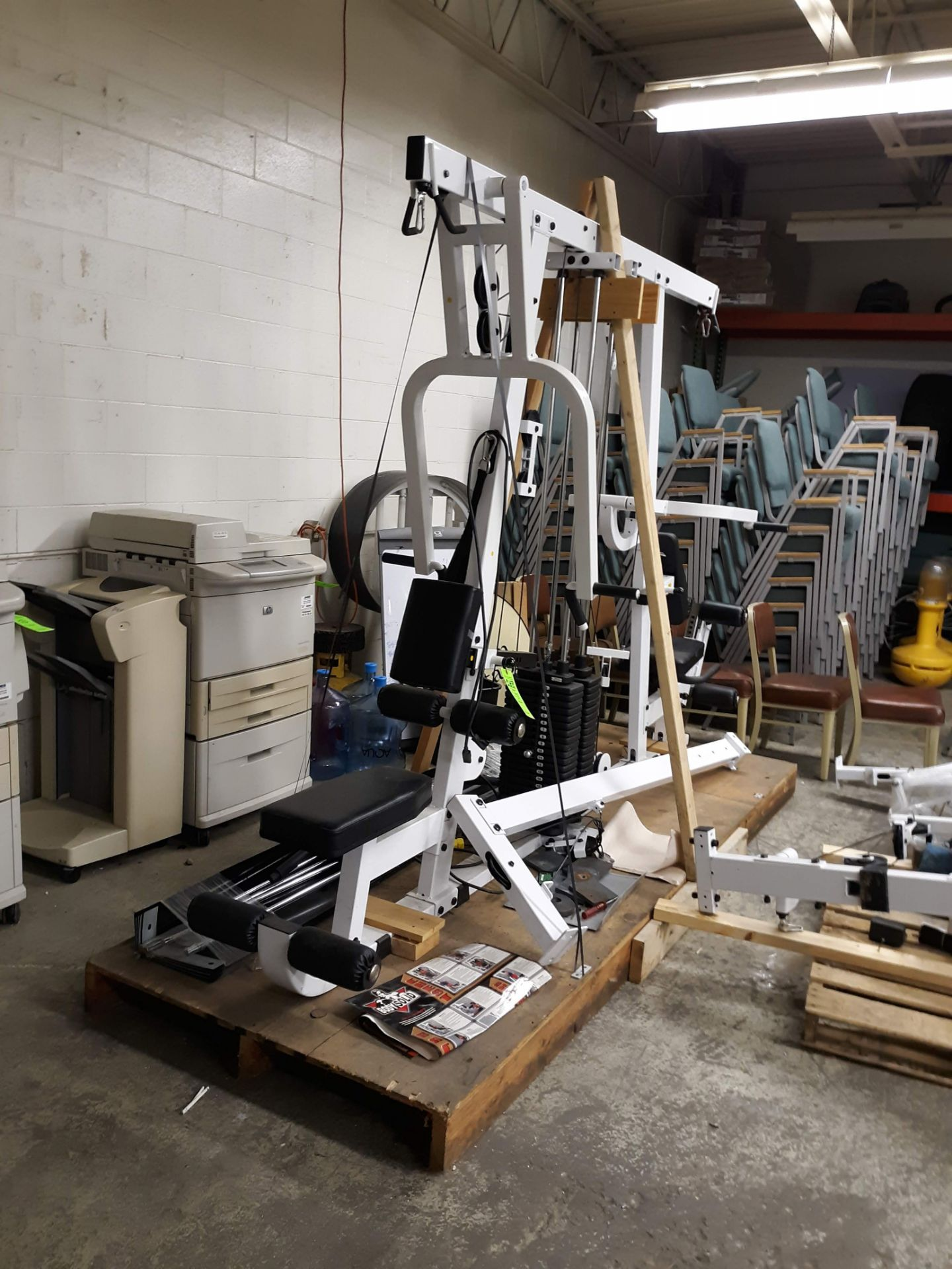 Lot 1215 - BODY SOLID EXM4000S ULTIMAT TRIPLE STACK HOME GYM PACKAGE (AS PICTURED)(LOCATED AT: 433 COUNCIL