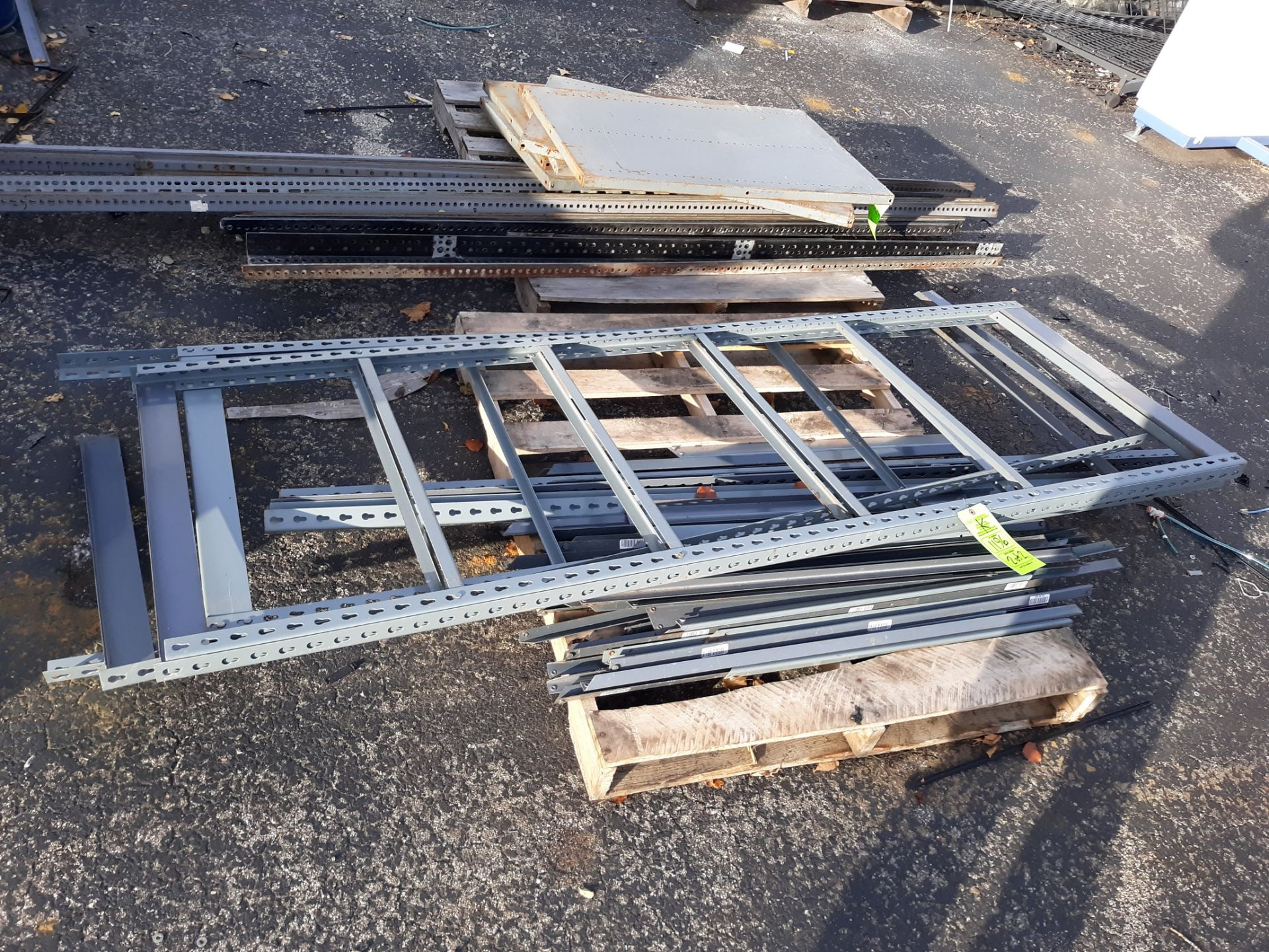 Lot 1196 - SHELVING-METAL FRAMES W/ PARTICAL BOARD SHELVES (LOCATED AT: 432 COUNCIL DRIVE, FORT WAYNE, IN