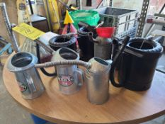 (8) VARIOUS OIL CANS; FUNNELS