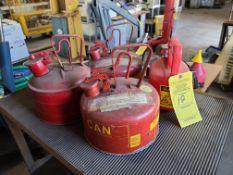 (3) 1 GALLON GAS CANS; (1) 1/2 GALLON GAS CAN