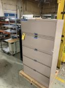 LOT OF OFFICE STORAGE: 5 PANEL CABINET COMPUTER CABINET SHELVES MISC.