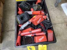 BOX OF MILWAUKEE DRIVERS CHARGERS DEWALT CHARGERS