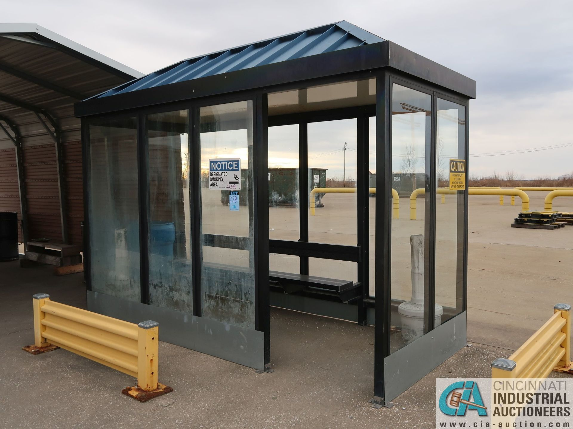Lot 238 - GLASS ENCLOSED SMOKE SHACK WITH 12' X 20' CARPORT