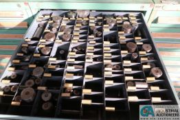 14-DRAWER LISTA-TYPE CABINET WITH MISC. ROUND HEAD PUNCHES, SLIDING PUNCH CASINGS, SLIDING