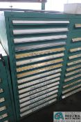 16-DRAWER LISTA-TYPE CABINET WITH MISC. TOOLING, SPEAR POINT TOOLS AND DOUBLE HEADS, EXTRUDE, TRIM
