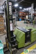 4,000 LB CLARK MODEL ST40B ELECTRIC WALK-BEHIND STACKER; S/N ST245-0453-4068, 24 VOLT WITH CHARGER
