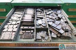12-DRAWER LISTA-TYPE CABINET WITH MISC. HARTFORD STARTERS, DIE BLOCKS, MACHINE PARTS - Loading