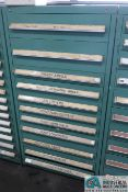 11-DRAWER LISTA-TYPE CABINET WITH MISC. FENNER TOOLS, FINGER ANVILS, HARDWARE, POINT FORM CUTTERS,