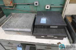 "(LOT) GRANITE SURFACE PLATES: (1) 18"" X 24"" , (3) 18"" X 18"", STEEL BENCH"