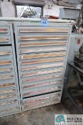 13-DRAWER CABINET WITH GRINDING WHEELS, MILL CUTTERS AND HARDWARE