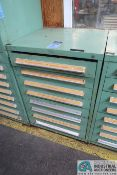 8-DRAWER TOOLING CABINET WITH NEW/USED 00, 0 FLAT THREAD / KNURLING ROLLING DIES