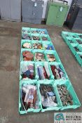 (LOT) ASSORTED COLD HEADING TOOLING IN 18 GREEN TOTES - SPRINGS, ROLLS, DIES, GRINDING WHEELS,