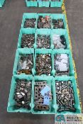 (LOT) ASSORTED COLD HEADING TOOLING IN 12 GREEN TOTES - CUTTER, QUILS, OTHER