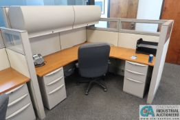 """72"""" X 72"""" HAWORTH OFFICE CUBICLE WITH OVERHEAD CABINETS, DRAWERS AND CHAIR"""
