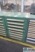 8-DRAWER TOOLING CABINET WITH NEW/USED FLAT DIE THREADING / KNURLING DIES