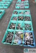 (LOT) ASSORTED COLD HEADING TOOLING IN 12 GREEN TOTES - DIES, CASINGS, QUIL, CUTTER AND OTHER
