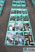 (LOT) ASSORTED COLD HEADING TOOLING IN 12 GREEN TOTES - DIES, BACK PLATES, PUNCHES, OTHER