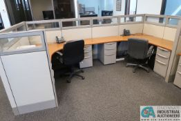 """144"""" X 72"""" HAWORTH 2-PERSON OFFICE CUBICLE WITH DRAWERS AND (2) CHAIRS"""