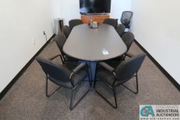 """(LOT) 96"""" CONFERENCE TABLE, (9) CHAIRS, CREDENZA, BOOK SHELF ** NO TELEVISION **"""