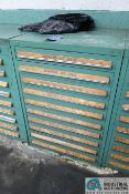 (LOT) TOOLING CABINET WITH NAIL MACHINE CUTTERS AND DIES