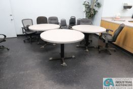 (LOT) CONTENTS OF BREAK ROOM - STACK CHAIRS, ROUND TABLES, MICROWAVES, TOASTERS, COFFEE MAKER **