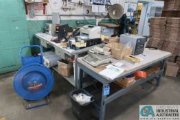 (LOT) ASSORTED ITEMS AND SHIPPING DESK AREA - ZEBRA LABEL PRINTER, METTLER SCALE, WORK BENCHES,