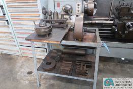 """(LOT) RACK WITH LATHE TOOLING - 16"""" 4-JAW CHUCK CENTERS, DRILL CHUCK, FOLLOW REST"""