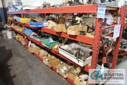 (LOT) ASSORTED TOOLING AND MACHINE PARTS AND HARDWARE ON (2) SECTIONS RED RACK AND ALSO IN BOXES