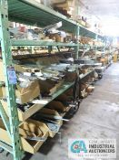 CONTENTS OF (5) RACKS INCLUDING MISCELLANEOUS DRAWER SLIDES, GUIDES, CERAMIC INSULATORS, PLUGS,