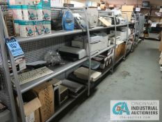 (LOT) CONTENTS ON DISPLAY RACKS INCLUDING MISCELLANEOUS PRINTERS, TONERS, WK CARTRIDGES **NO