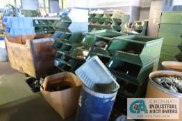 (LOT) LARGE QUANTITY OF CASTERS AND WHEELS, INCLUDING THE STEEL TOTES - SEE CAUTION TAPE AS BOUNDRY