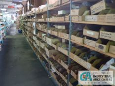 CONTENTS (38) SECTIONS SHELVING INCLUDING COILS, SPLITTERS, INDUCTORS, RELAYS, SMALL TRANSFORMERS,
