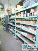 CONTENTS OF (5) RACKS INCLUDING MISCELLANEOUS HEATER COILS, CERAMIC INSULATORS, ROOF FLASHING,