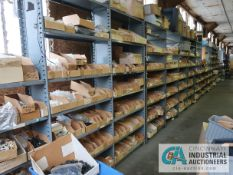 CONTENTS OF (17) SECTIONS SHELVES WITH MISCELLANEOUS PLASTIC AND NYLON HARDWARE, PARTS, SEALS,
