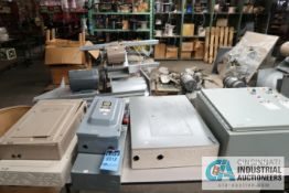 (LOT) TABLE WITH ELECTRICAL - (4) SERVICE PANELS BY GE AND SIEMENS, DISCONNECT SWITH AND PUMP