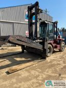 "22,000 LB. CAPACITY TAYLOR T-220S ""BIG RED"" DIESEL, DUAL TIRE PNEUMATIC LIFT TRUCK, PIPE CLAMP, 16,"